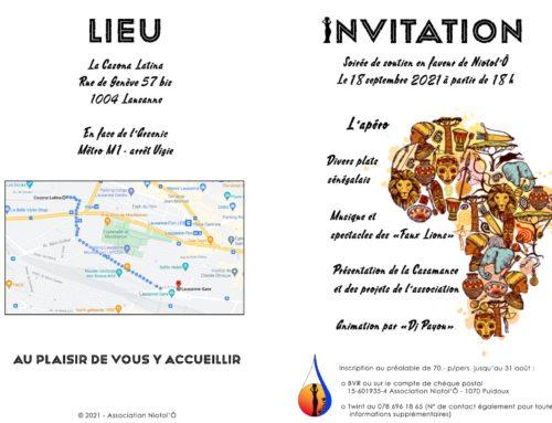 Invitation soirée de soutien en faveur de Niotol'Ô
