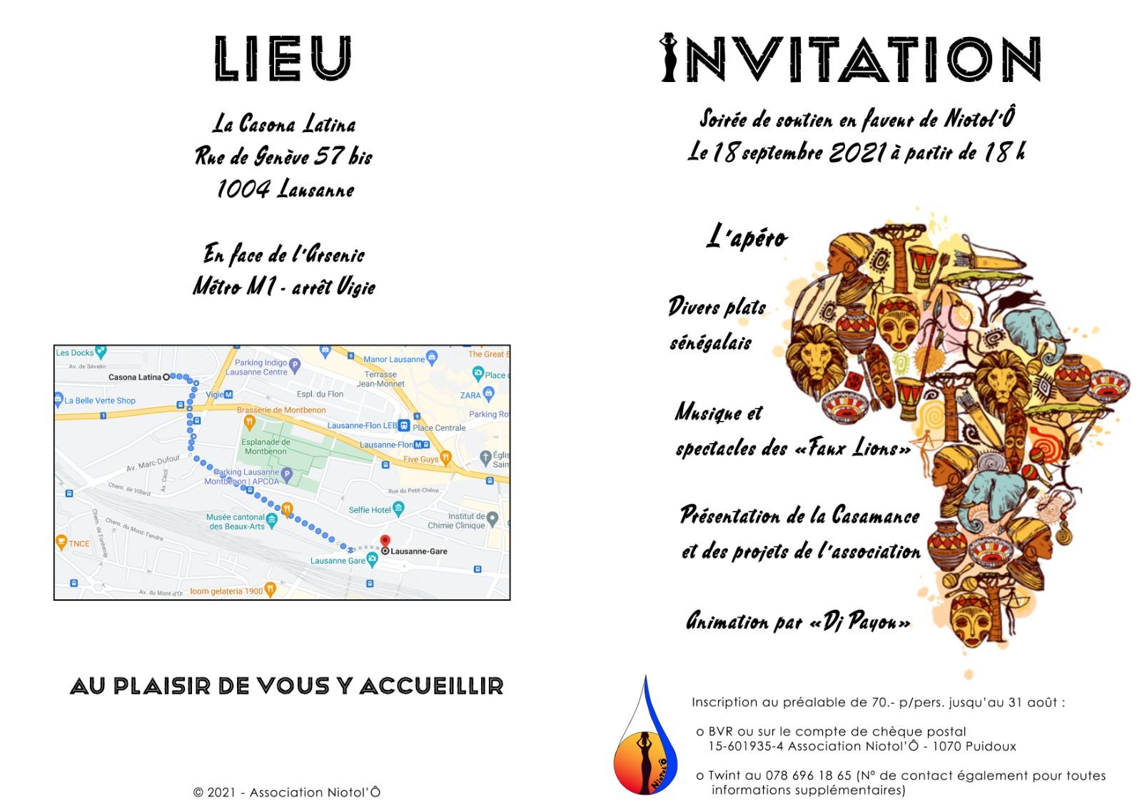 invitation repas soutien association Niotol'Ô